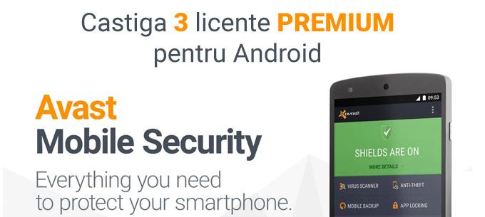 Concurs: Câștigă 3 licențe Avast Mobile Security PREMIUM pe 1 an, pentru Android premium concurs avast