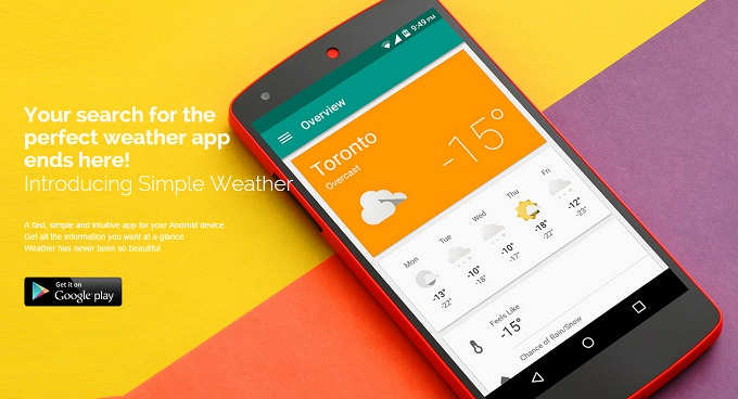 Simple Weather - aplicație gratuită pentru vreme, cu Material Design weather material design featured