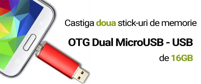 Concurs: Câștigă două stick-uri de memorie OTG Dual USB-MicroUSB de 16GB dual otg otg concurs