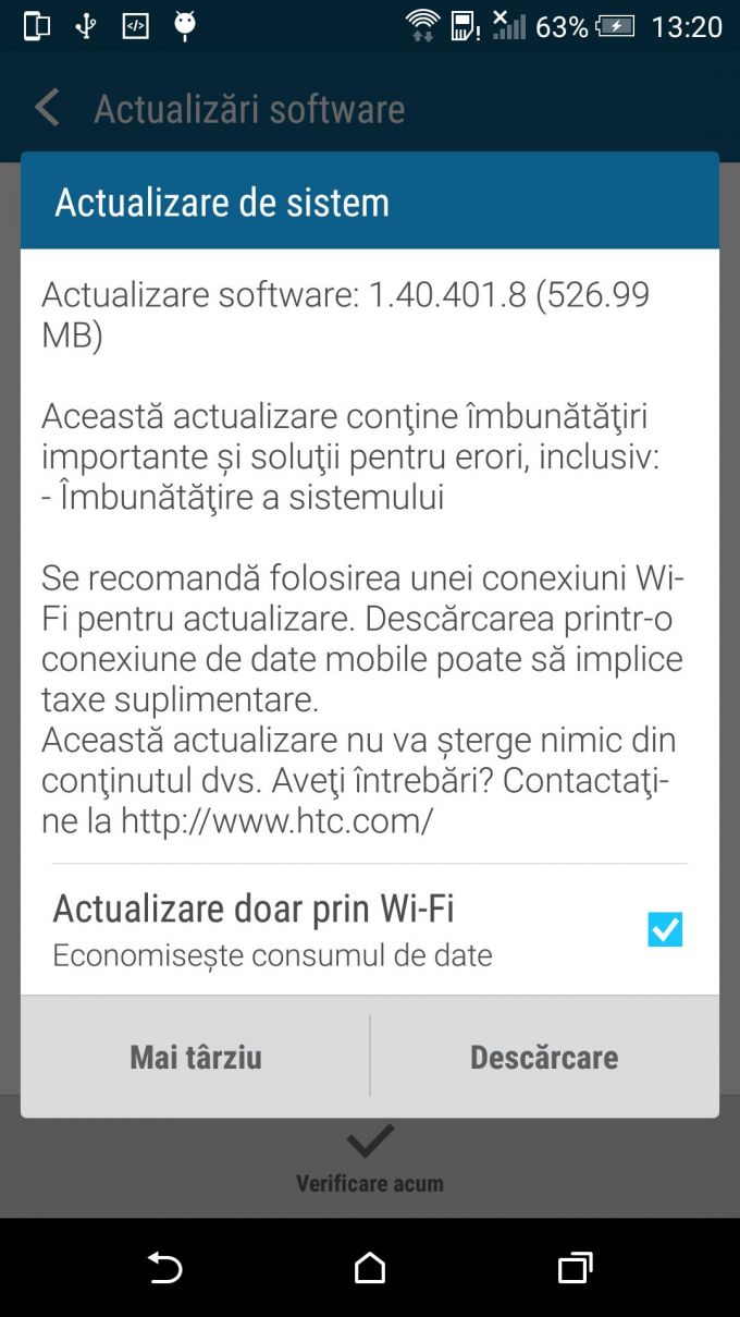 HTC One M9 a primit un nou update de firmware m9 update htc