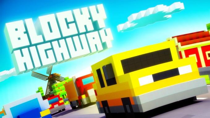 Blocky Highway - endless runner cu mașini și grafică voxel art voxel pixel