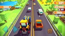 Blocky Highway - endless runner cu mașini și grafică voxel art voxel pixel