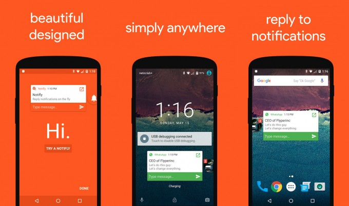 Notifly - notificări de tip pop-up pentru Android heads featured chat