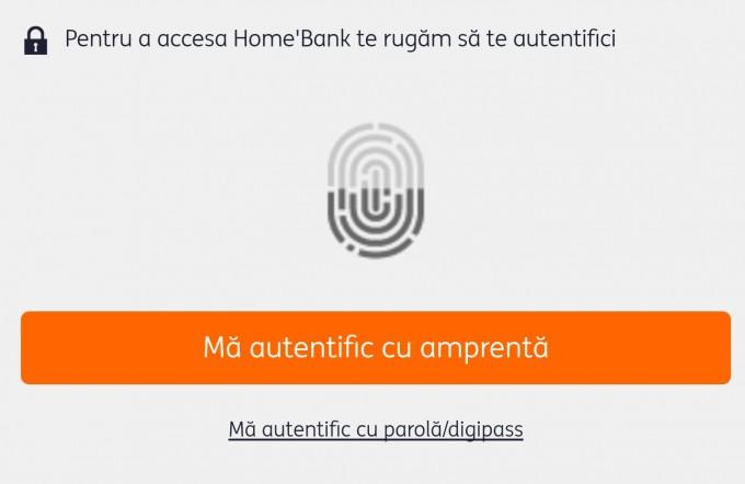 Aplicația ING HomeBank a primit funcția de autentificare prin amprentă homebank