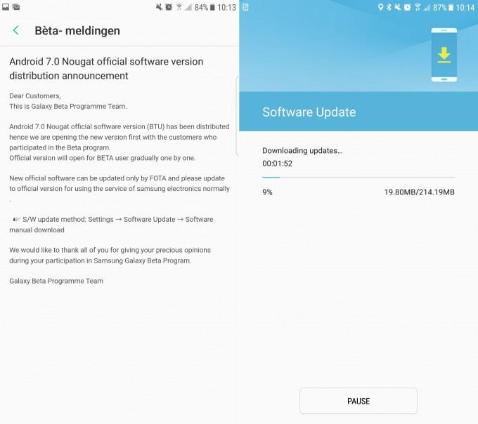 Update: Samsung a început actualizarea lui Galaxy S7/S7 edge la Android 7.0 Nougat nougat galaxy