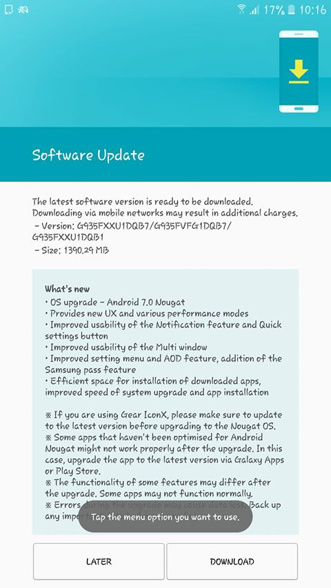 Android 7.0 pentru Samsung Galaxy S7/S7 edge a ajuns și în România, momentan doar pentru Vodafone samsung s7