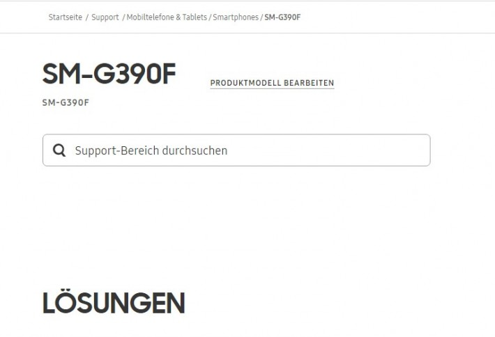Screenshot Galaxy Xcover 4 confirmat pe site-ul Samsung Germania