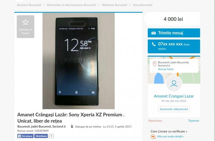 Prototip Sony Xperia XZ Premium găsit la amanet în țara noastră premium xperia sony
