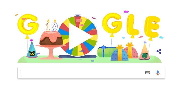 Google a împlinit 19 ani de existență și sărbătorește printr-o roată aniversară google
