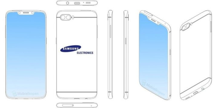 Samsung a brevetat un smartphone cu notch (breton) în stilul iPhone X samsung galaxy