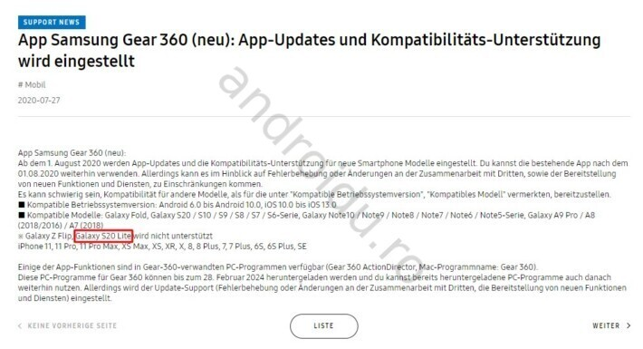 Galaxy S20 Lite menționat pe site-ul Samsung US și Samsung Germania samsung leak