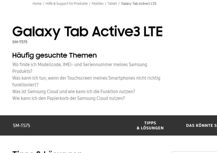Samsung Galaxy Tab Active3 WiFi/LTE/5G confirmate pe site-ul Samsung tab samsung galaxy