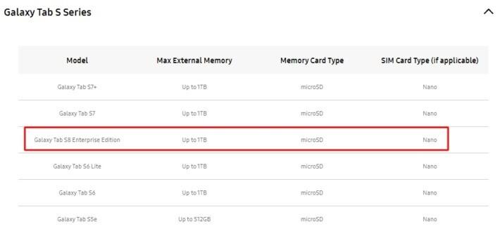 """Samsung Galaxy Tab S8 în versiunea """"Enterprise Edition"""" apare menționată pe site-ul oficial tabs8 samsung leak"""